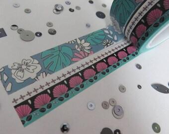 Floral washi tape set, greens, blues, pinks