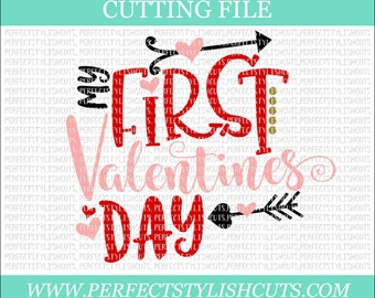 My First Valentine's Day - Valentines Day SVG, DXF, PNG, Eps Files for Cameo or Cricut - Valentine Svg, Girl Valentine Svg, Love Svg