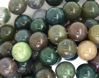 """10mm Indian agate round beads 15.5"""" strand 35807"""