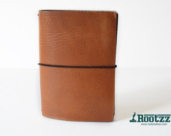 A6 Traveler's notebook cognac with brown edges - midori like- fauxdori