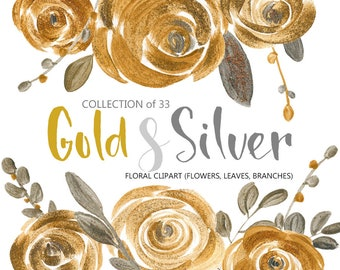 Flower clipart: gold & silver acrylic roses, metallic glitter leaves branches flower florals, commercial use digital clip art bright flowers