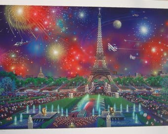 Unframed Eiffel Tower by Alexander Chen with Certificate of Authenticity (MM)