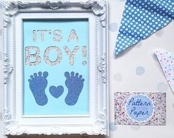 5x7 'It's a Boy!' Framed Papercut Design Baby Shower Christening Gift