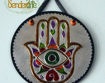 Small decoration for wall - Mini circular picture hand of Fatima - hamsa - box - embossment craft - colorful - detail - luck