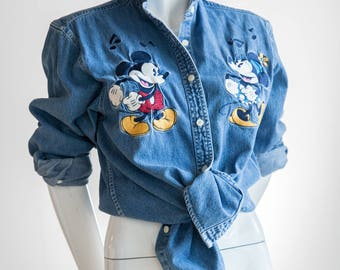 Disney Denim | Disney Shirt | Mickey Mouse Denim | Mickey Mouse  Shirt | Embroidered Denim | Embroidered Disney Denim | Denim  Shirt | Sz S