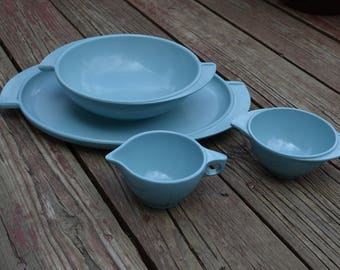 Vintage Teal/Aqua Boonton Melmac dishes, Winged handle, 4 pieces, Tray/Platter, Serving Bowl, Sugar, and Creamer