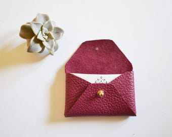 Burgundy leather card holder / Burgundy envelope card holder / Bordeaux leather business card case / Genuine leather