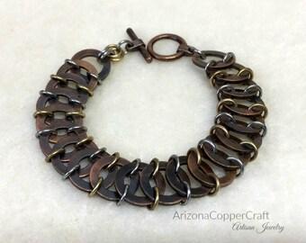 Chain Maille Bracelet, Vertebrae Weave Bracelet, Tri-Color Bracelet, Mother'sDay Gifts, Copper Bracelet, ArizonaCopperCraft,  FREE SHIPPING