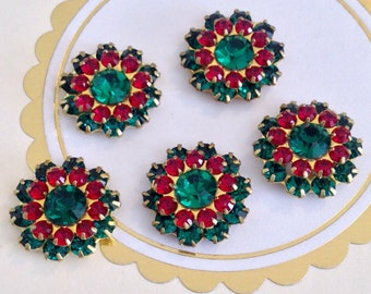 2 Christmas sparkly emerald and siam ruby swarovski crystals in brass setting  #1243-11