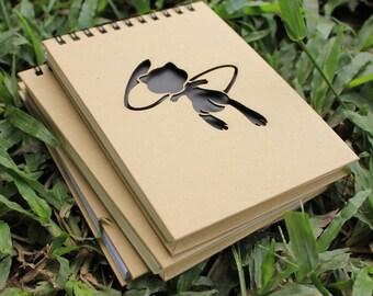 Pokémon Notebook - Mew Spiral Notepad - Hardcover Journal - Laser Cut - A6 Notebook - Blank Cookbook - Best Friend Gift