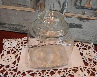 Vintage Clear Glass Canister