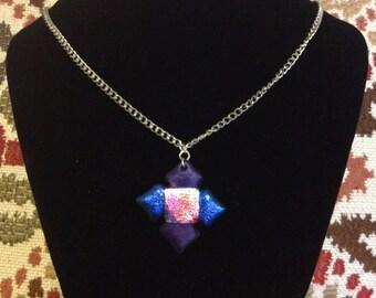 Shiny iridescent metallic colourful Friendly Plastic necklace, Blue & Purple