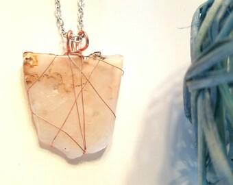 Agate necklace, copper wrapped stone, stone pendant, polished stone, copper jewelry, stone necklace, wire wrap jewelry, statement jewelry