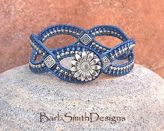 Denim Leather Bracelet-Beaded Cuff-Blue Silver Wrap-Denim Jewelry-Bracelet Earrings-Custom Sizes-Button Options-D'Vine One-Double Denim