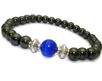 Buddhist mala bracelet mens jewelry for boys Blue stone bracelet homme Positive energy jewelry for anniversary Healing energy stones crystal