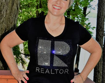 Real Estate Realtor    rhinestone  bling  shirt,  all sizes XS, S, M, L, XL, XXL, 1X, 2X, 3X, 4X, 5X