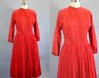 Vintage 1950s Red Lace Chiffon Dress. Rockabilly Red Lace Chiffon Dress. Retro Red Chiffon Dress. Vintage Knee Length Red Dress.