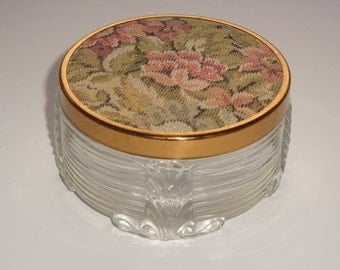 Art Deco Dresser Jar with Brocade Lid