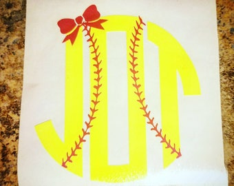 Decal, tumbler decal, small decals, Softball, Softball Monogram, Sports decal, Monogrammed decal, Monogram, Gifts, Girl's monogram