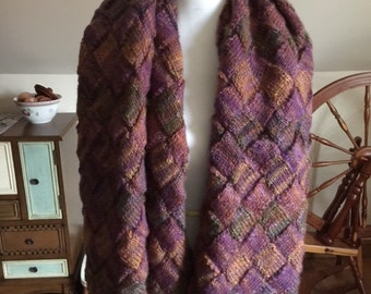Hand-knit Entrelac Wool Wrap/Throw