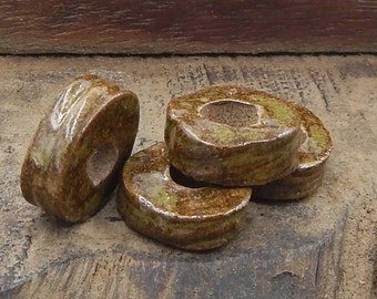 Ceramic Handmade Disc Beads Brown Green Pottery