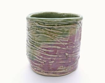 Stoneware Cup Pink Green Handmade Pottery