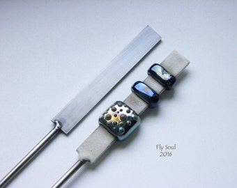Flat mandrel for lampwork length 7cm (2mmx10mm and 2mmx5mm)