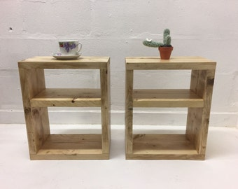 Handmade Reclaimed Solid Wood Scaffold Plank Bookcase Shelf
