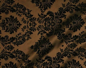 "8 Yard Bolt Black Brown Taffeta Flocking Damask Elegant Decor Fabric, 60"" Width"