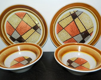 vintage set of noritake primastone stoneware dishes 2 small plates 2 bowls