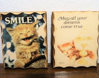 Vintage Miniature Wood Plaque Kitten Magnets