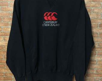 Vintage 90s Canterbury Big Logo Embroidery Sweatshirt Pullover Black L
