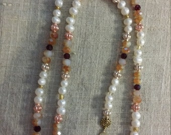 Crystal and freshwater pearls hair piece