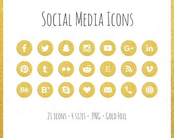 Social Media Icons - 21 icons in 4 sizes, gold foil, PNG files, flat style, gold glitter