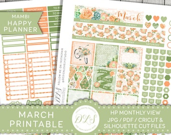 Happy Planner March Monthly Kit, Mambi March Stickers, Monthly Planner Kit, Floral Planner Stickers, St. Patrick's Day Planner, HPMV119