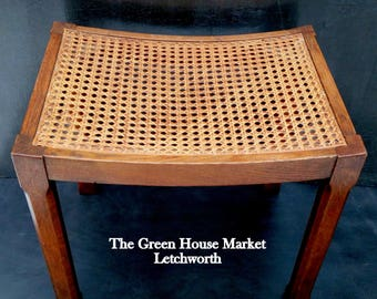 Carved Oak Arts & Crafts Caned Stool Footstool