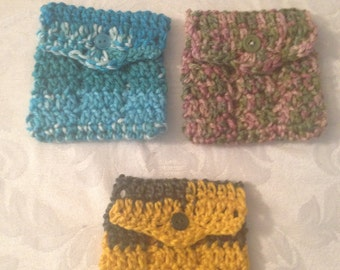 Crochet Essential Oil Roller Pocket holds 3 rollers/personal inhalers Purse Pouch Bag Insert Carrying Case