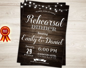 Rehearsal Dinner Invitation. Rustic Wedding Rehearsal Dinner Invitation. Printable Rehearsal Invitation. Rustic Wood Invite. String lights