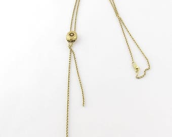 Victorian 14K Yellow Gold Slide Lariat with Pearl Necklace #240