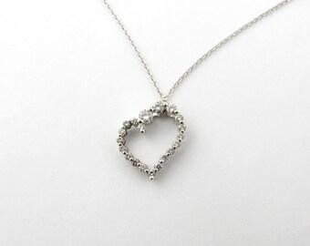 Vintage 14 Karat White Gold Diamond Heart Pendant #1843