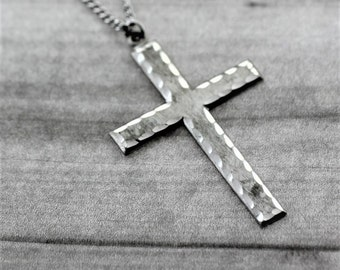 Chisel Textured Cross- Sterling Silver