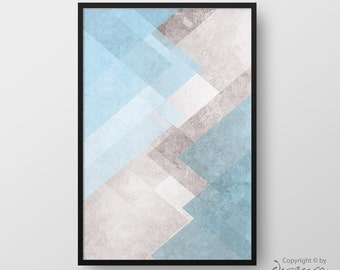 Printable Geometric Art, Modern Geometric Print, Abstract Wall Art, Blue Pastel Art, Modern Print, Minimalist Poster, Instant Download