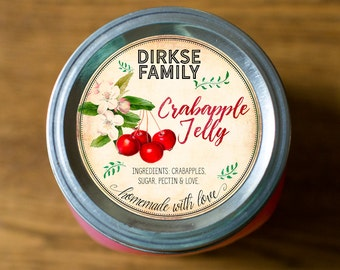 Customized Label - Crabapple Jam, Jelly, Preserves, Canning Jar Label - Wide Mouth & Regular Mouth - Vintage - All Text is Customizable