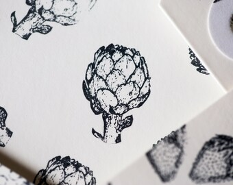 Mini Stamp Artichoke - 1 inch x 1/2  inch stamp - hand drawn artichoke - produce & farm branding - artichoke stamp