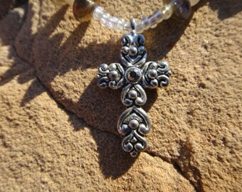 vintage cross pendant necklace  , vintage beaded silver tone cross pendant ,vintage cross pendant