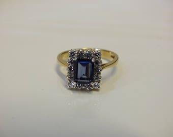 London Blue Topaz and CZ 9 Ct Gold Ring