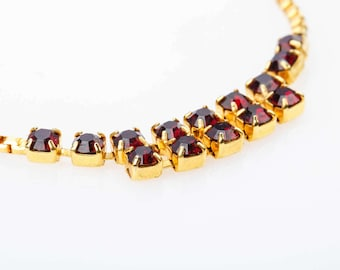 SALE  -30% .  Mothers  day saleGarnet  Gilded   necklace