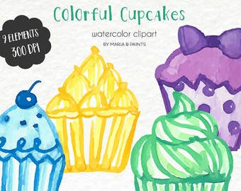 Hand Painted Watercolor Clip Art - Cupcakes, Colorful, Bakery, Party, Sweet, Dessert, Instant Download, Painted Cupcakes, Cake, Birthday