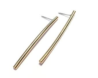 """Minimalist curved brass bar earrings, 2"""""""
