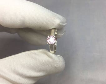 NATURAL 0.60ct Peach Pink Morganite Silver Solitaire Ring Round Cut 925